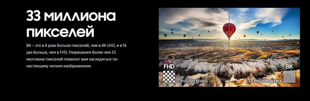 Samsung Q950 8K QLED пиксели