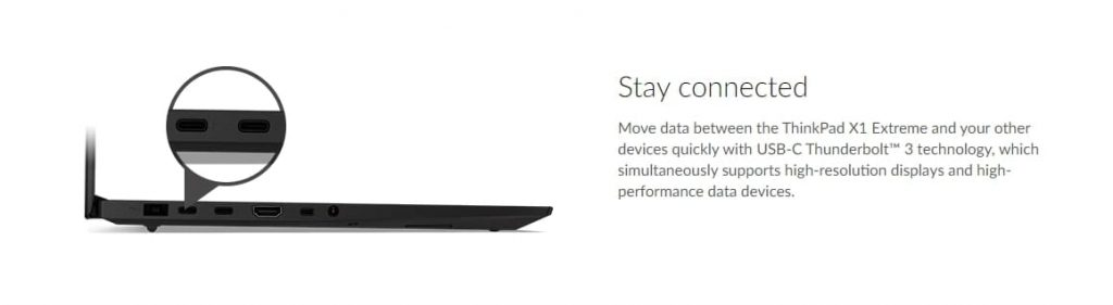 порты Lenovo ThinkPad X1 Extreme (Gen 2)